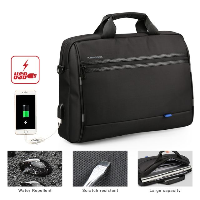 66e8d619d5e6 2018 New USB Charge 15.5 Fahion Waterproof Notebook Computer Laptop Bag for  Men Women Briefcase Shoulder Messenger Bag KS3190-in Crossbody Bags from ...