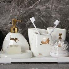 Набор керамических принадлежностей для ванной комнаты с рисунком котенка, набор из шести предметов, держатель для зубной щетки, бутылка для лосьона, европейский стиль, комплект для ванной комнаты