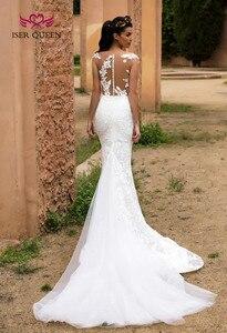 Image 4 - Illusion Terug Sheer Hals Israël Mermaid Wedding Dress Afneembare Trein 2 in 1 Nieuwe Ontwerp Bruid Jurk 2019 Bruidsjurken w0326
