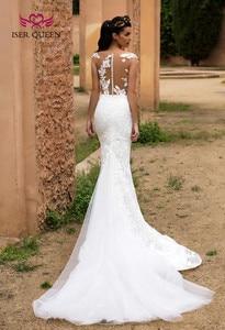 Image 4 - Ilusão Voltar Sheer Neck Israel Mermaid Vestido De Noiva Train Destacável 2 em 1 New Design Vestido de Noiva 2019 Vestidos de Casamento w0326