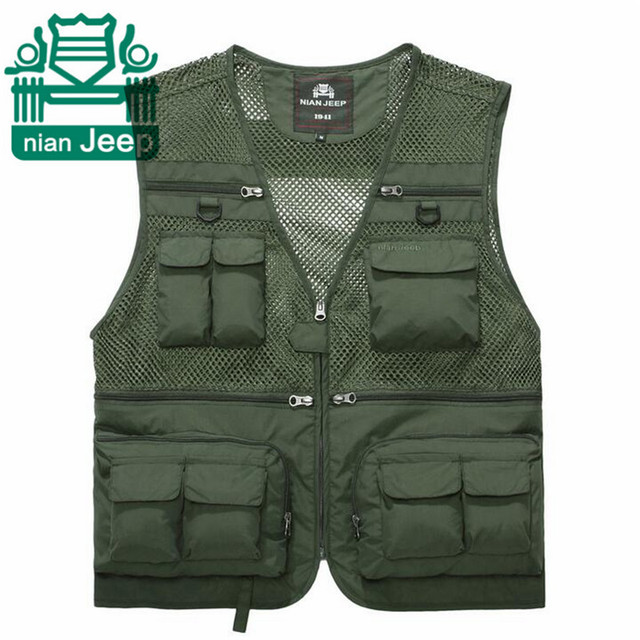 NIAN AFS JEEP Summer Man's Quickly Dry Military breathe Cargo Vest,High Quality Multi Pocket Vest,Army Green/Khaki Overall Vest