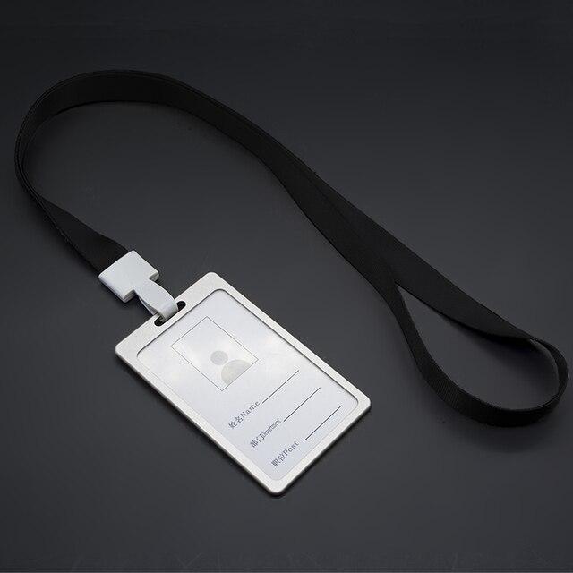1pcs black color id name card case aluminum alloy business card 1pcs black color id name card case aluminum alloy business card badge holder with neck lanyard colourmoves