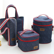 Fashion Portable Tote Heat Insulated Lunch Storage Cooler Food Box Denim Thermal Picnic Bag Shoulder Milk