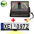 Parking Assistance Mirror Car Parking Monitor HD CCD European Russia License Plate Frame Rear View Camera With 2 Reverse Radar