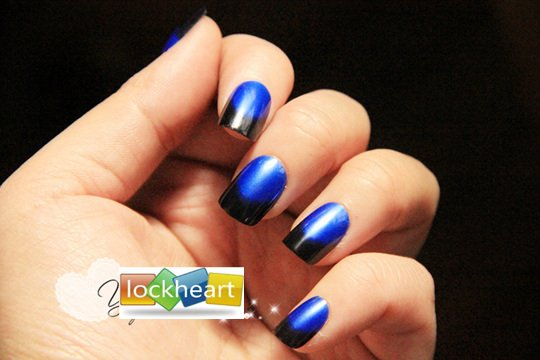 Freeshipping Acrylic Nail Art False Fake Tips With Glue Royalblue And Black Style