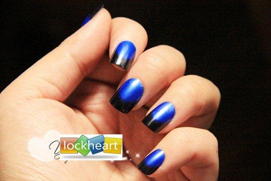 Freeshipping 3d Acrylic Nail Art False Fake Tips With Glue Royalblue And Black Style