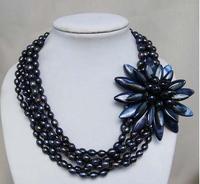 Проводное ожерелье в виде цветка ожерелье с шваброй оболочки настоящий чёрный пресноводный жемчуг ожерелье, ожерелье из цветов ручной рабо