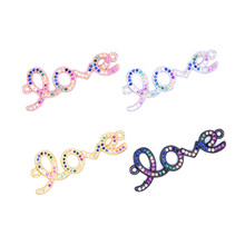 New Arrival English Letter LOVE Charm with Colored Zircon for Women Bracelet Necklace Connectors Diy Jewelry Findings Making