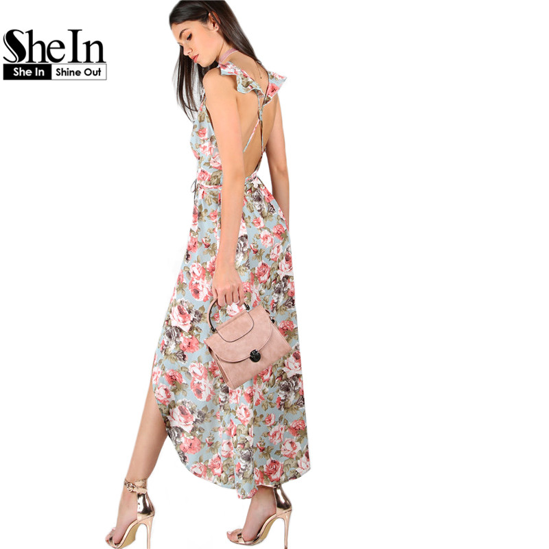 Shein para mujer vestidos de verano a-line dress señoras sin mangas plunge rose