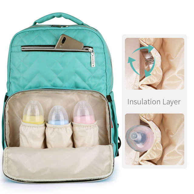 diaper backpack for maternity Solid color plaid style waterproof baby nappy bag mummy travel backpack  nursing bag stroller bag Nappy Changing