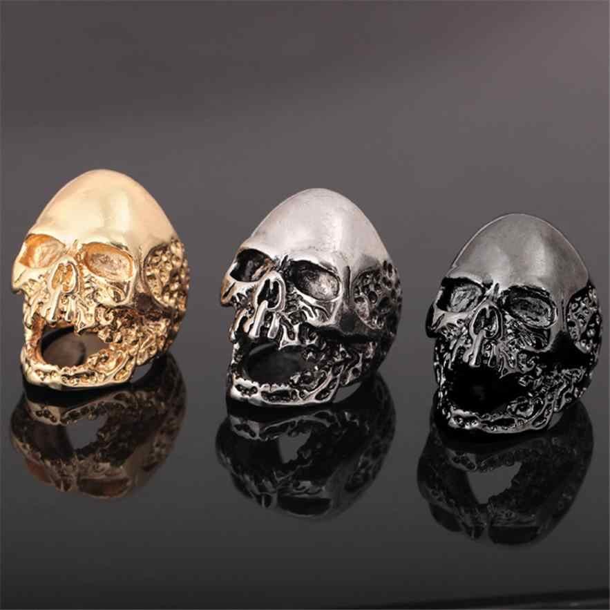 בציר הגולגולת טבעת Creative היפ הופ רוק סגנון זהב גותי נירוסטה Ghost טבעת תכשיטי מתנת תכשיטים 2019