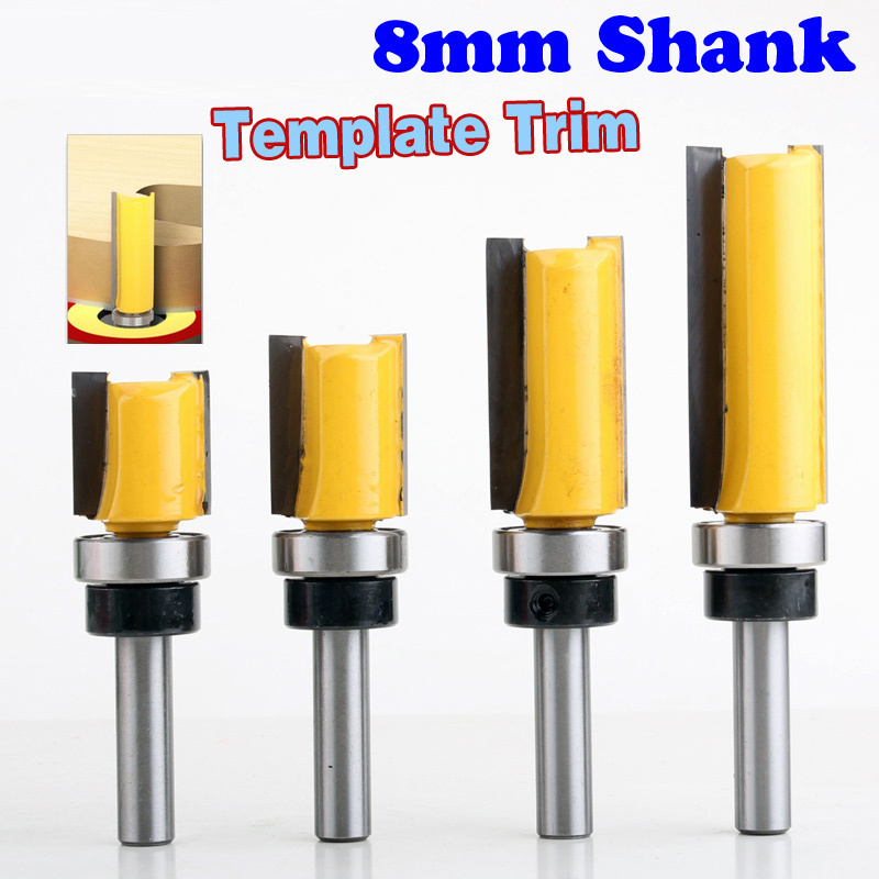 1 unid 8mm Shank plantilla Trim bisagra Mortising Bit Router Molino de extremo recto trimmer limpieza flush trim Tenon cortador forWoodworking