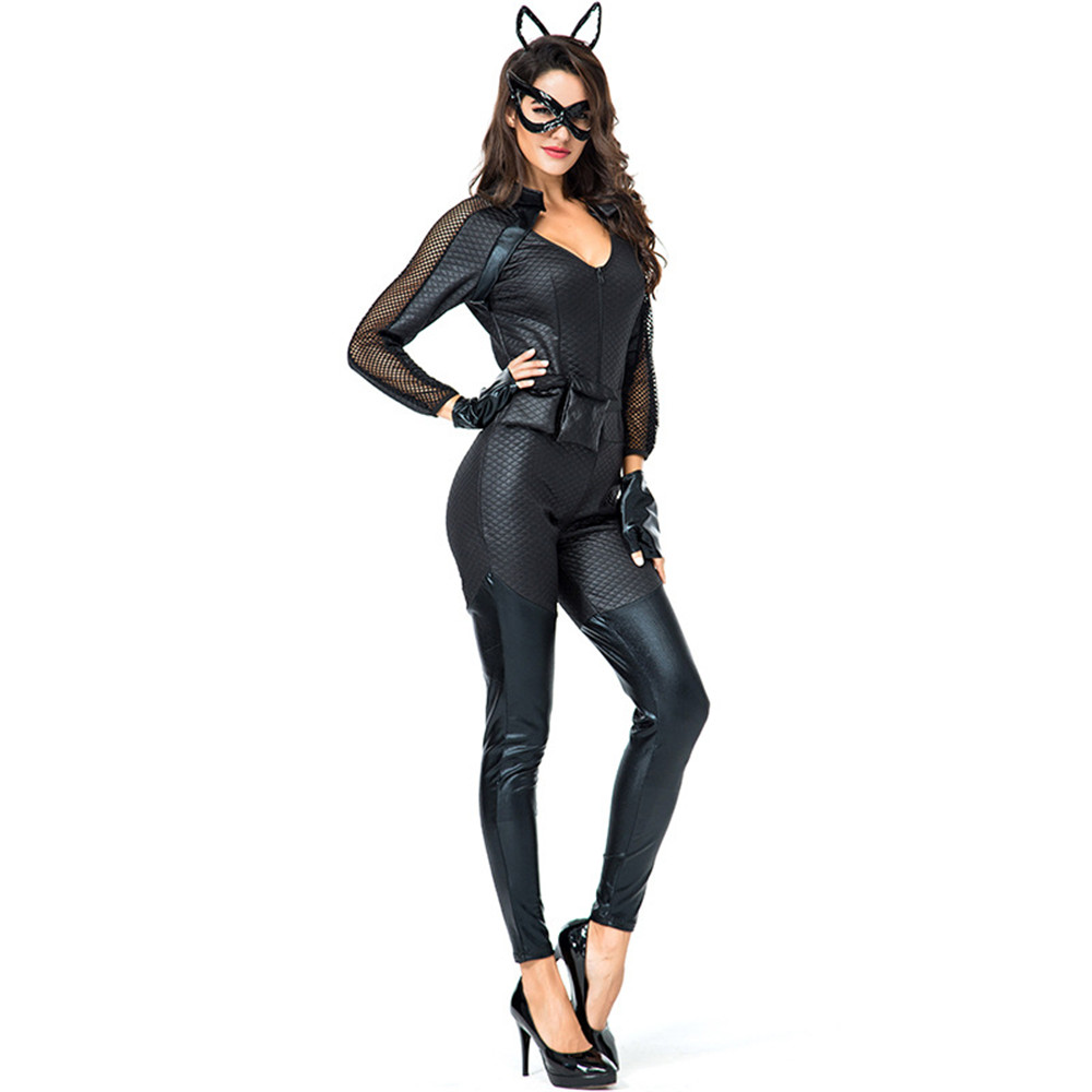 Fashion Women Halloween Fancy Jumpsuit <font><b>Sexy</b></font> Black Cat Anime <font><b>Catwoman</b></font> <font><b>Costume</b></font> Adult Girls Gothic Cosplay Clothing Hair Band image