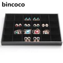 Bincoco 24 ciñe bandeja exhibición de la joyería negro de cuero y terciopelo organizador de almacenamiento 35 cm * 24 cm * 3 cm las redes pueden ser demolidas Joyería