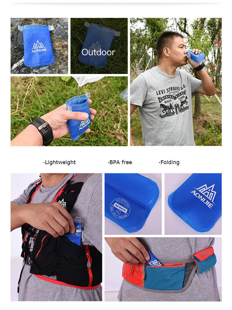 Foto of structure water's flask folding TPU for sport. Collapsible flask of water 500ml for hiking