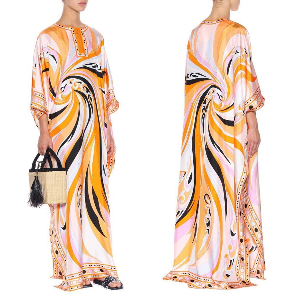 Ladies new loose large code Greek style high end fashion print silk jersey dress