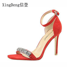 41beea6069cd5c XingDeng Women Ankle Strap Flock Rhinestone High Heels Sandals Shoes Lady  Crystal Stone Summer Sexy Party Dress Shoes