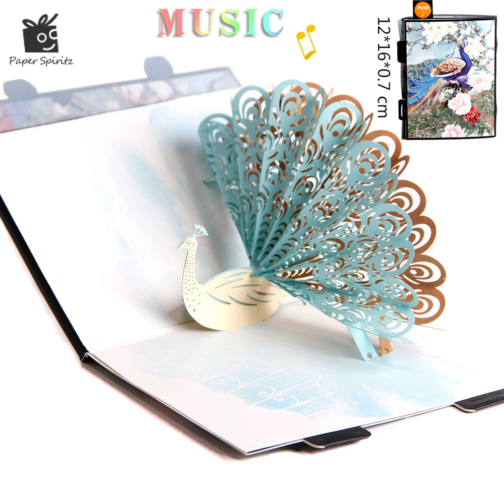 Card Kraft Postcards Handmade 3D Pop UP Musical Greeting Cards Happy Birthday Paper with Envelope Gift Message Card for Girl цена и фото