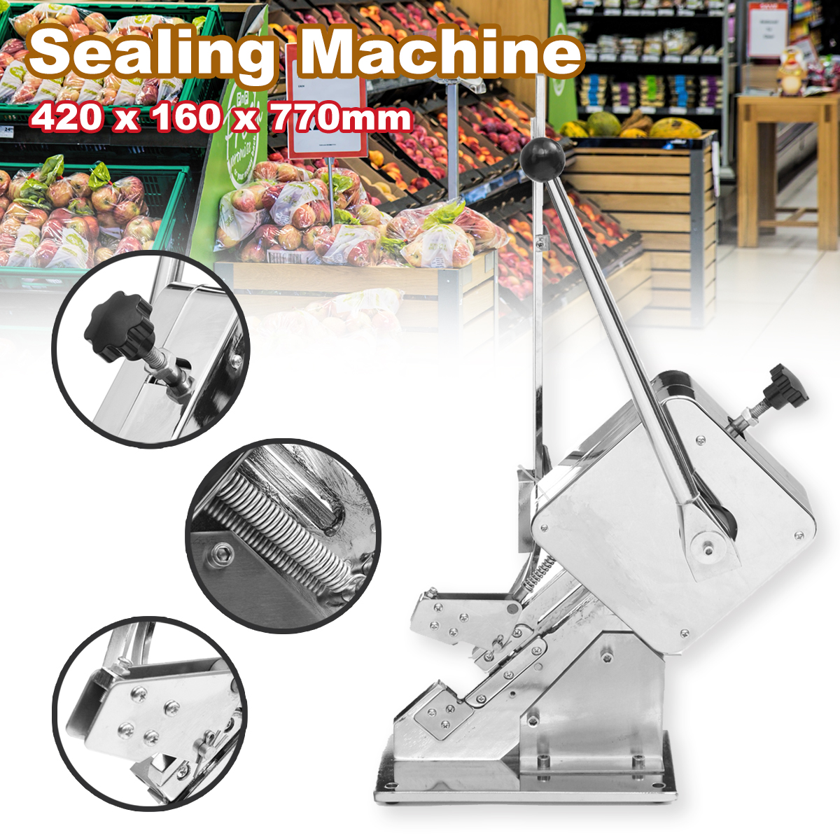 Food Sealers Packing Sealing Machine Manual Ham Sausage Knotting Sealing Machine Supermarket + U-shape ClipsFood Sealers Packing Sealing Machine Manual Ham Sausage Knotting Sealing Machine Supermarket + U-shape Clips