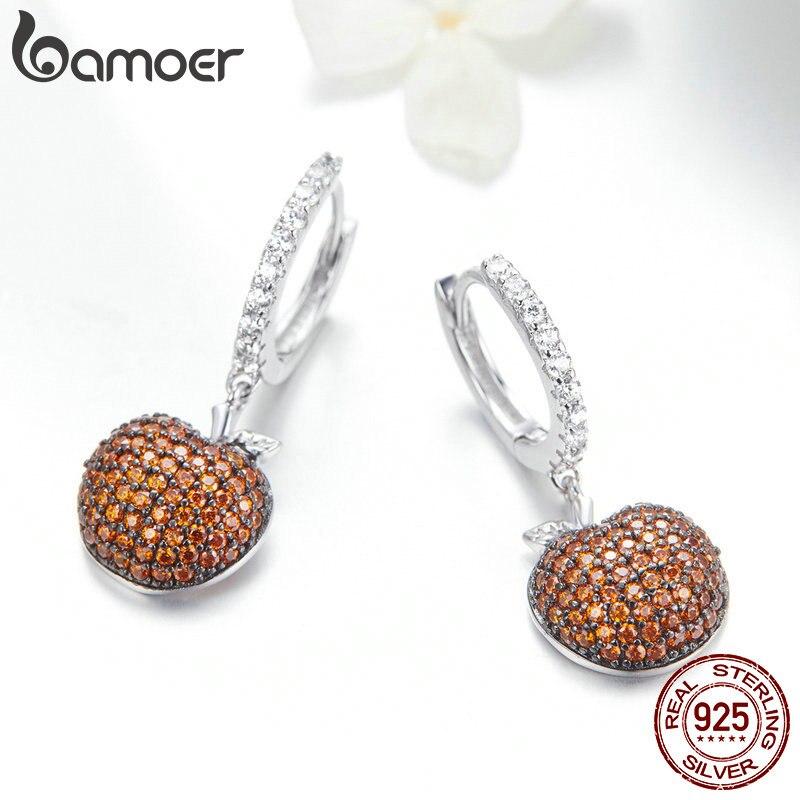 Image 3 - BAMOER Genuine 925 Sterling Silver Small Apples Drop Earrings for Women Orange CZ Zirconia Fashion Jewelry Making SCE523-in Drop Earrings from Jewelry & Accessories