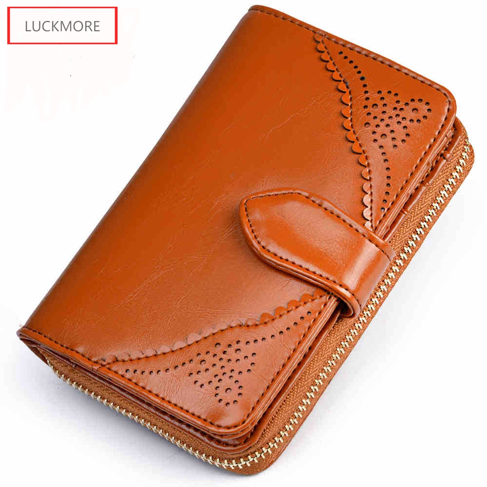 Genuine Real Leather Women Short Wallets Small Wallet Zipper Coin Pocket Credit Card Wallet Female Purses Money Clip 5 Colors