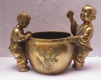 Long 8 Inch Metal Crafts Home Decoration Chinese Brass Carved 2 Boys Play Pot Statue Sculpture