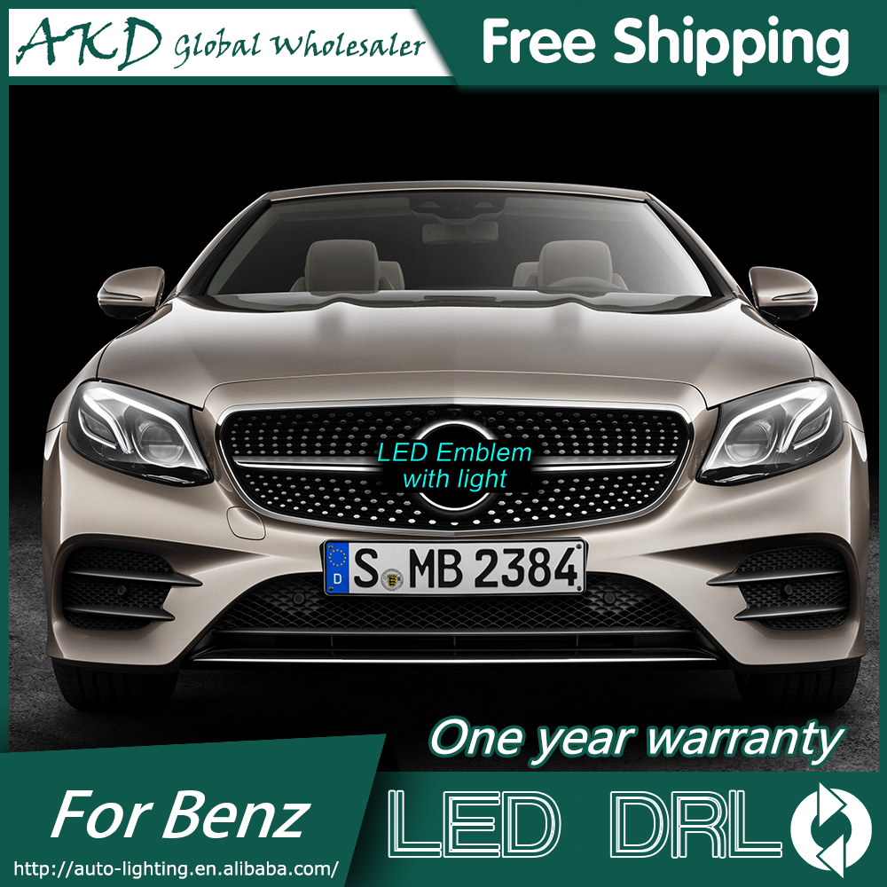 AKD Car Styling for Mercedes Benz GLE Class GLE63 LED Star Light DRL FRONT GRILLE LED LOGO Emblem Daytime Running light abs decorative led emblem logo light front grille for f ord r anger t7 2016 2017 car styling 4 colors grill lamp