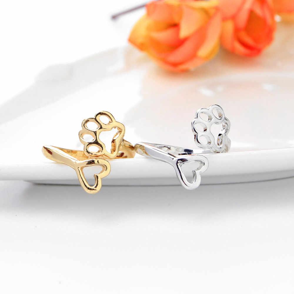SUSENSTONE 2017ความงามกลวงตีนพิมพ์แหวนหัวใจรักแหวนเปิดแหวนปรับสัตว์เลี้ยงสัตว์G Lodแหวนเงิน#29