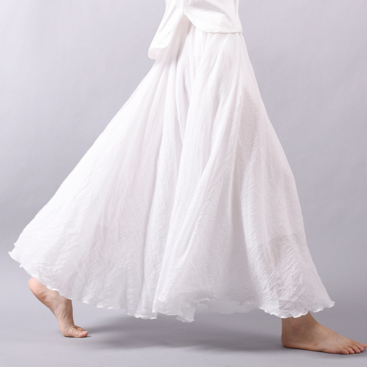 Sherhure 19 Women Linen Cotton Long Skirts Elastic Waist Pleated Maxi Skirts Beach Boho Vintage Summer Skirts Faldas Saia 16