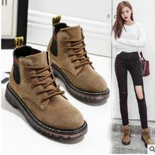 2017 new women s shoes boots nubuck leather shoes flat top Martin boots