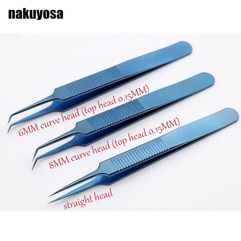 3pcs 11 5Cm 6MM 8MM curve head straight head top head 0 15MM Titanium alloy microsurgical
