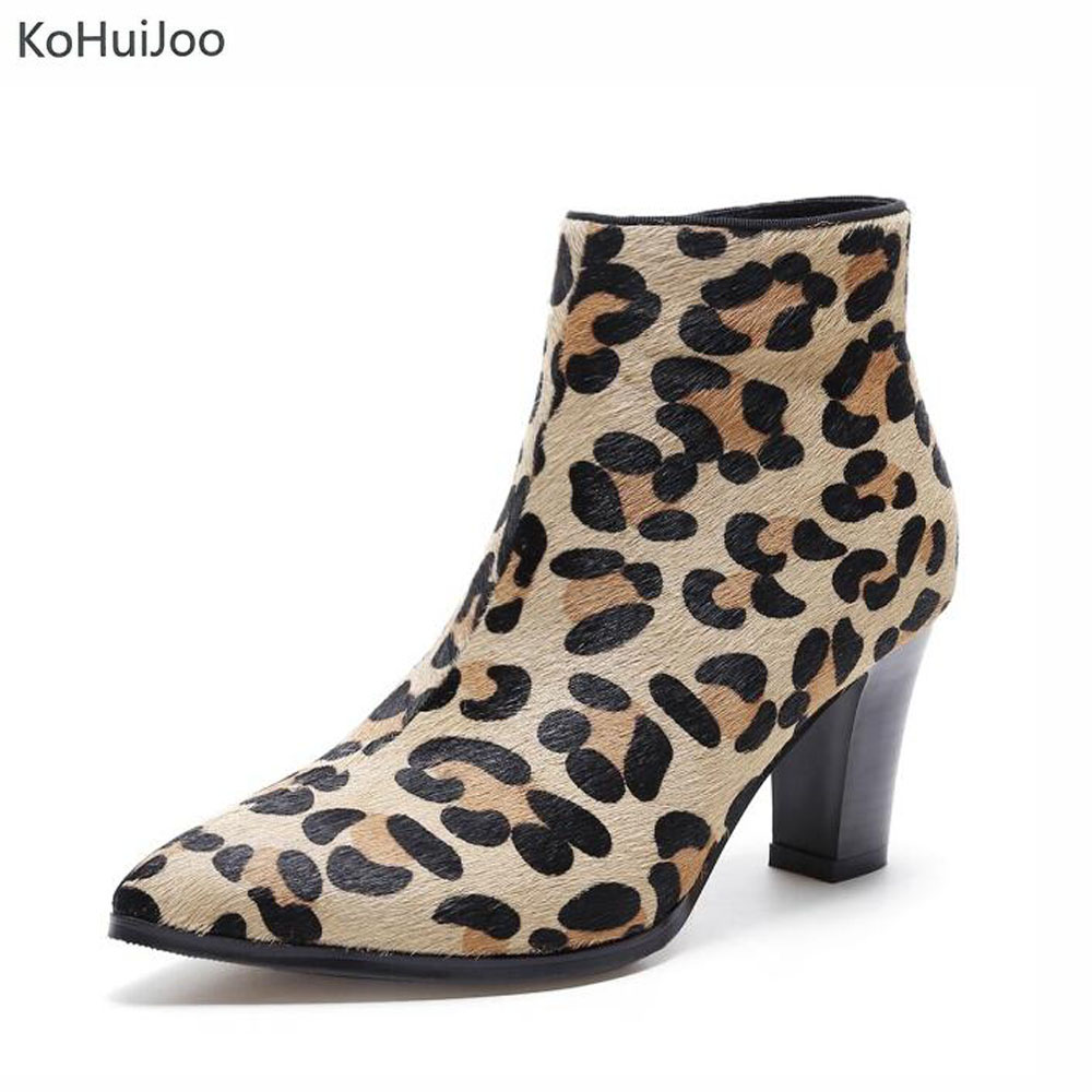 KoHuiJoo 2018 Fashion Winter Brand Shoes Women Horsehair High Heel Leopard Boots pointed toe genuine leather runway style boots 2018 new arrival fashion winter shoe genuine leather pointed toe high heel handmade party runway zipper women mid calf boots l11