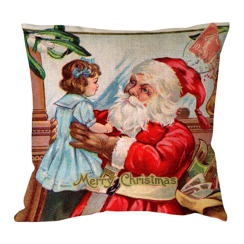 Kind Santa Claus and kid print custom christmas linen bed chair cushions throw pillow sofa almofada decorative pillow insert