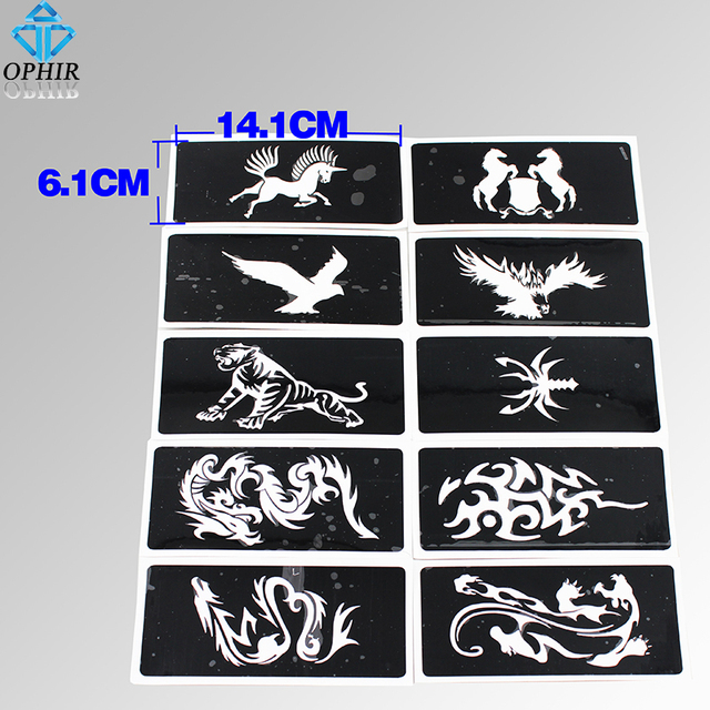 Ophir 10pcs reusable airbrush stencils animal series for for Temporary tattoo airbrush paint