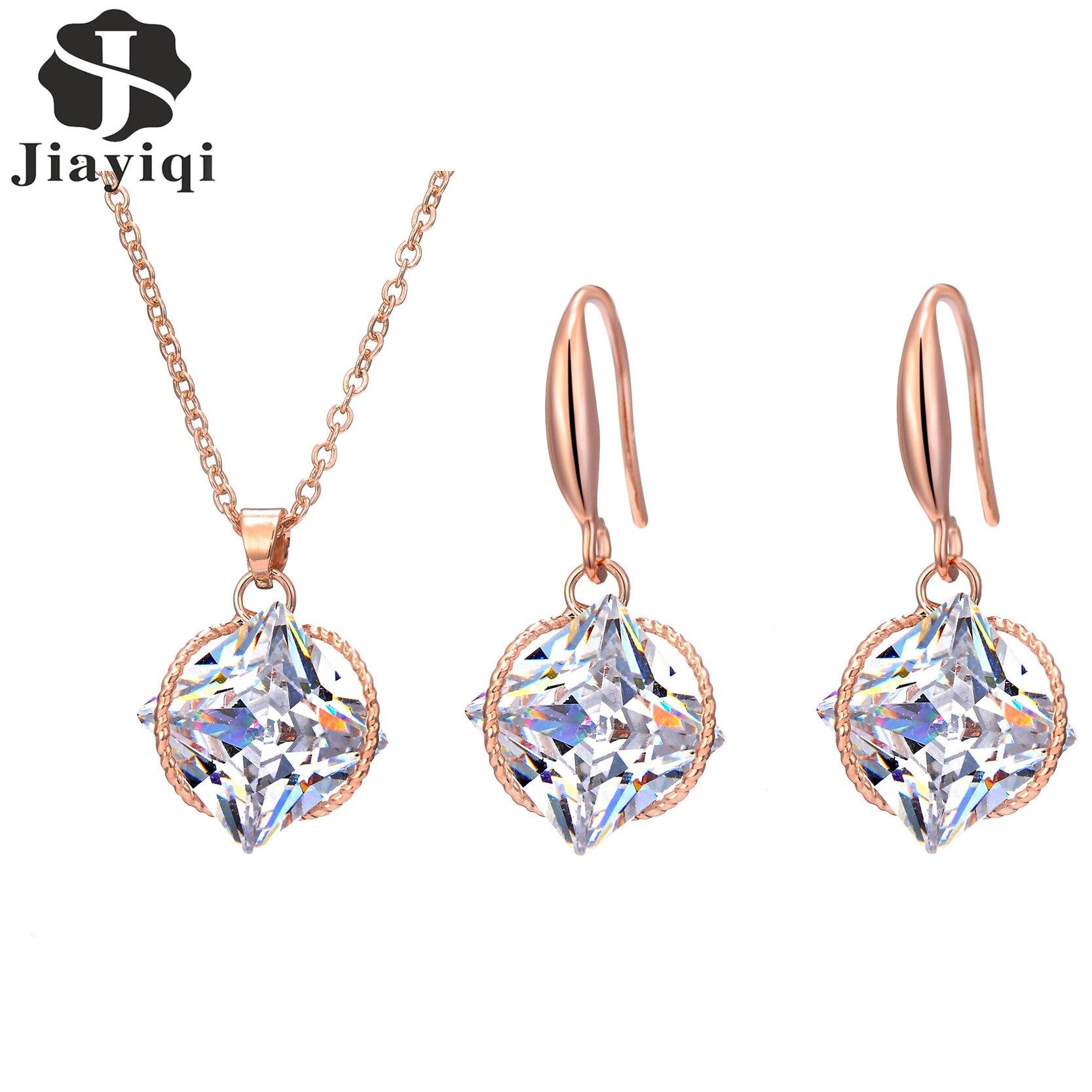 New Geometric Zircon Set Perhiasan Perak dan Emas Warna Kalung Dan Menjuntai Drop Earrings untuk Wanita Perhiasan Halus JX3035