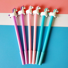 Buy 6 pcs Cartoon color unicorn gel pen 0.5mm ballpoint Black color pens sweety kid gift Stationery  School supplies Caneta FB884 directly from merchant!