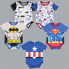 Superman Cotton Children Girls T-shirt  Baby Boys Girls Tops hero Short sleeves Triangle Package Fart Clothing  summer a2