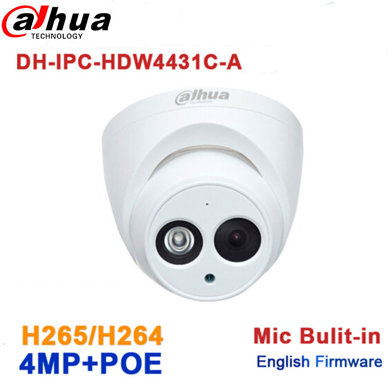 Dahua IPC-HDW4431C-A replace IPC-HDW4421C-A 4MP Network IP Camera IR POE CCTV Mic Built-in H265 H264 dome DH-IPC-HDW4431C-A dahua 6mp ip camera ipc hdw4631c a poe network camera with built in micro upgrade model of 4mp camera ipc hdw4431c a