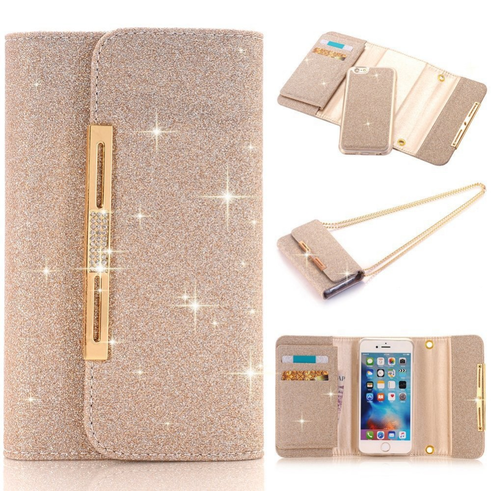 2 In 1 Bling Diamond Handbag Flip Wallet Glitter <font><b>Leather</b></font> <font><b>Case</b></font> Cover With Metal Chain For <font><b>Iphone</b></font> 11 Pro XS Max XR X 8 7 6 <font><b>6S</b></font> Plus image