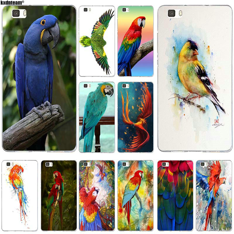 US $1 99 |Best Macaw Parrot Bird Watercolor Soft Phone Cases for Huawei P8  P9 P10 P20 Lite Mate 10 Pro Y5 Y6 II Y7 Honor 6X 7X 9 Lite-in Half-wrapped