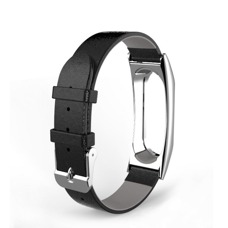 Real Leather Strap for Xiaomi Mi Band 2 Leather Strap Metal Frame Wrist band Mi Band 2 Smart Bracelet Accessories