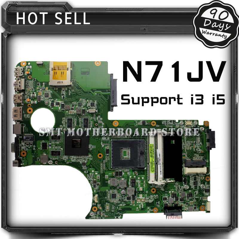 N71JV Mainboard For N71JV Laptop Motherboard Support  i3 i5 CPU Motherboard 100% Tested Well and Free Shipping for asus x45vd motherboard laptop mainboard with cpu i3 4gb ram slots tested well free shipping