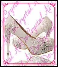 Aidocrystal Hottest design good quality elegant spring season shoes new stylish flower lace pump high heel