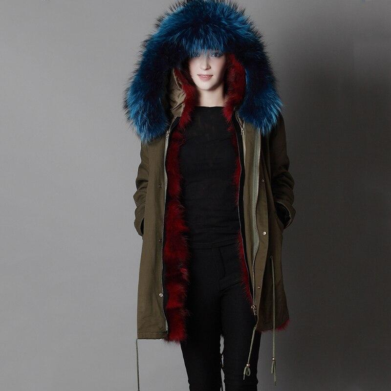 LVCHI 2019 nuovo inverno Femminile Parker Naturale Cappotti di pelliccia di Volpe SHUBA Casual Fox morbido rivestimento Militare di stile genuino Del Collare caldo cappuccio - 3