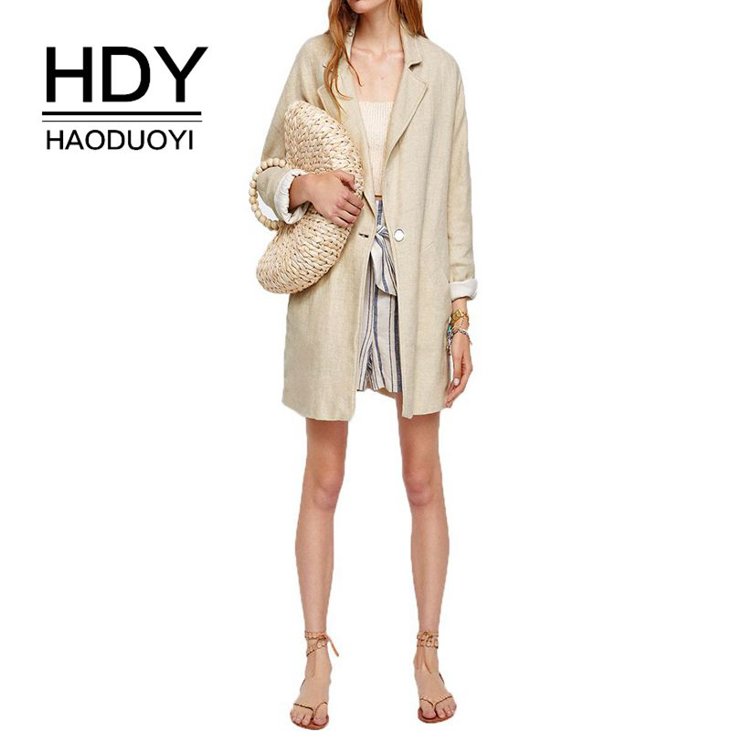 HDY Haoduoyi Country Style Loose Lapel Long Sleeve One Button Blazer Autumn New Arrival Lady Office Style