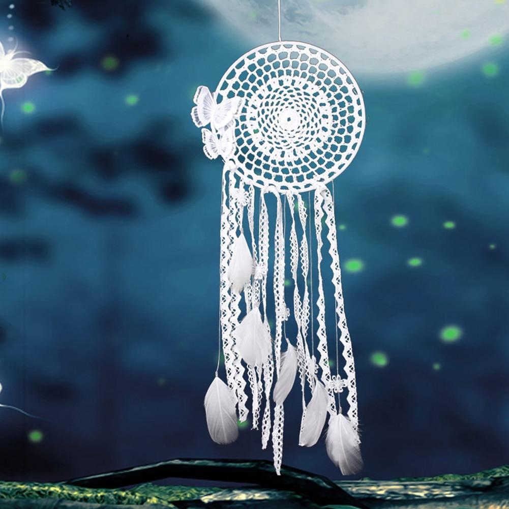 Fehér szél chimes kézzel készített pillangó álom fogó toll gyöngy Dreamcatcher ablak / autó / fal függő dekoráció dísz  t