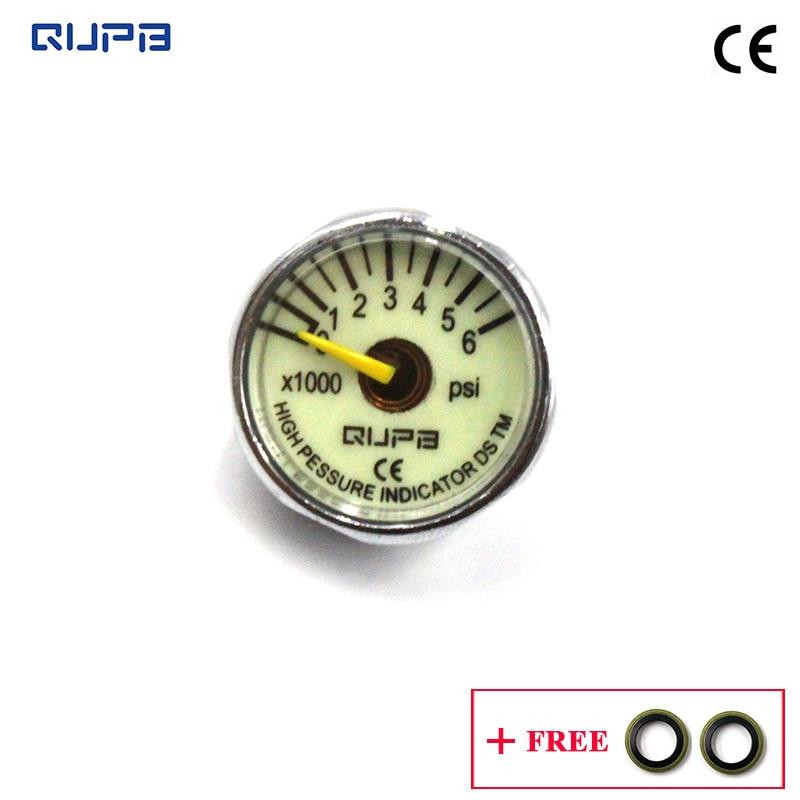 QUPB  1 Inch Paintball High Pressure Luminous Gauge 6000PSI 1/8NPT Thread GES006