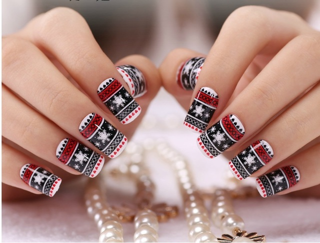 New 3d Christmas French Manicure Nail Patch Art Stickers Decals