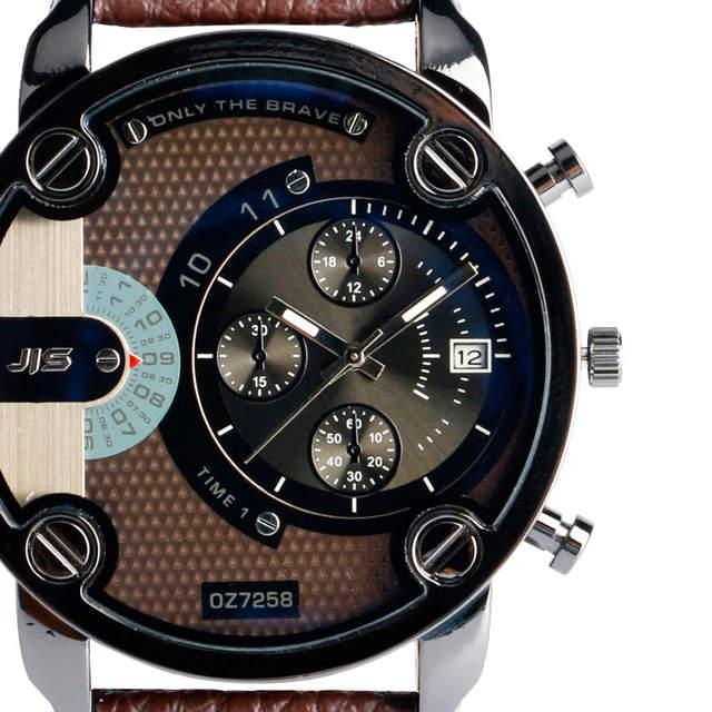 e8fddf0f2dd JIS Military Quartz Watch Man Big Face Wristwatch Date Display Mens Watches  Top Brand Luxury Leather