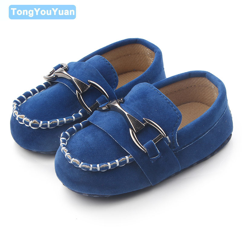 Baby Boy Mocassins Shoes Nubuck Leather Metal Decoration ...
